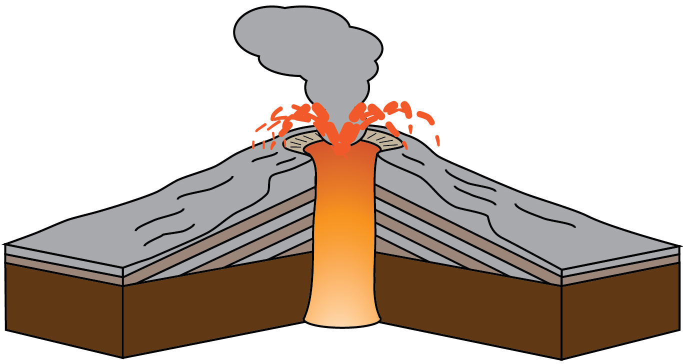 Transparent volcano cinder cone. Collection of clipart