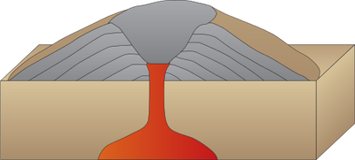 Transparent volcano cinder cone. Collection of drawing