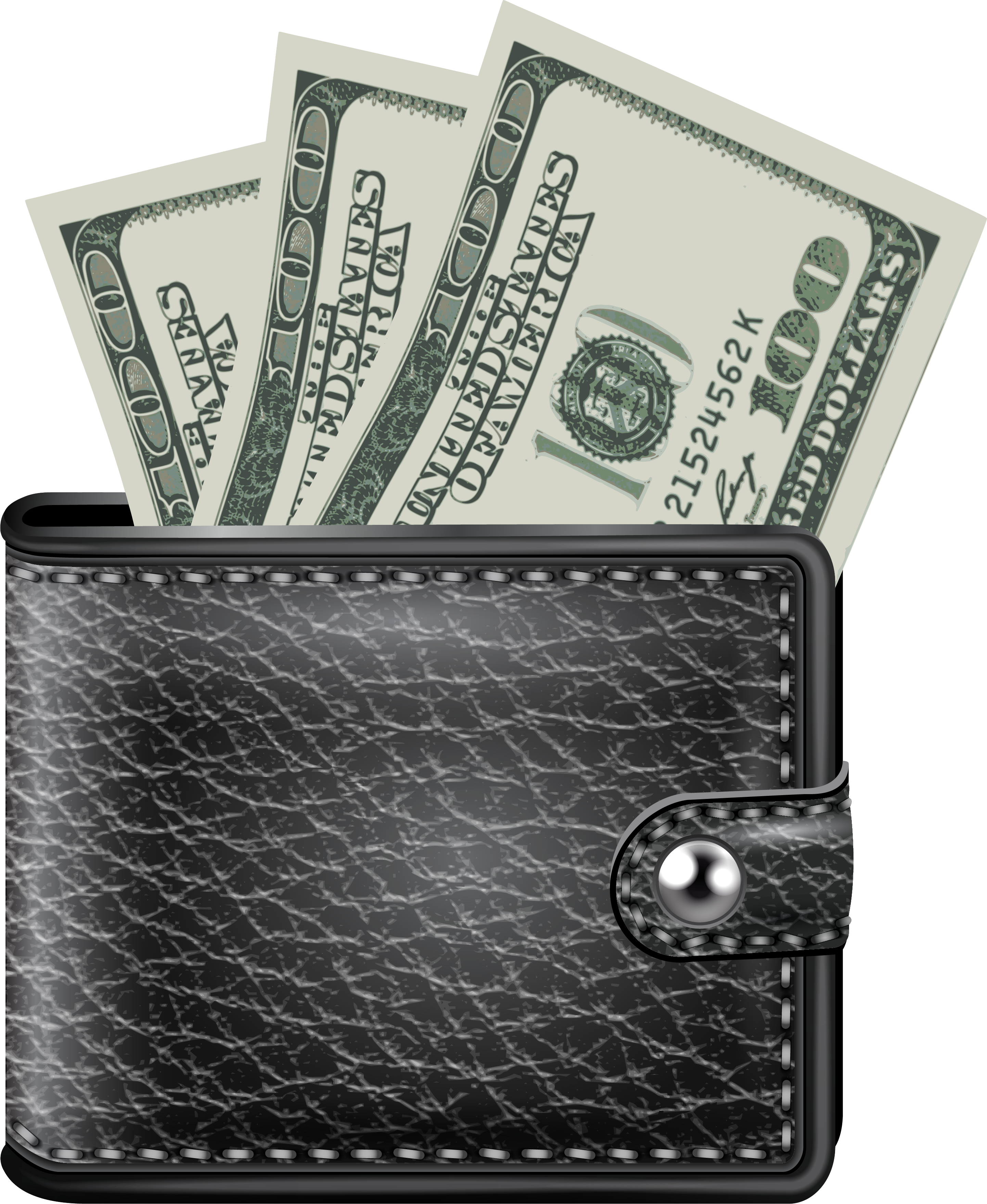 Transparent wallet. Black with money png