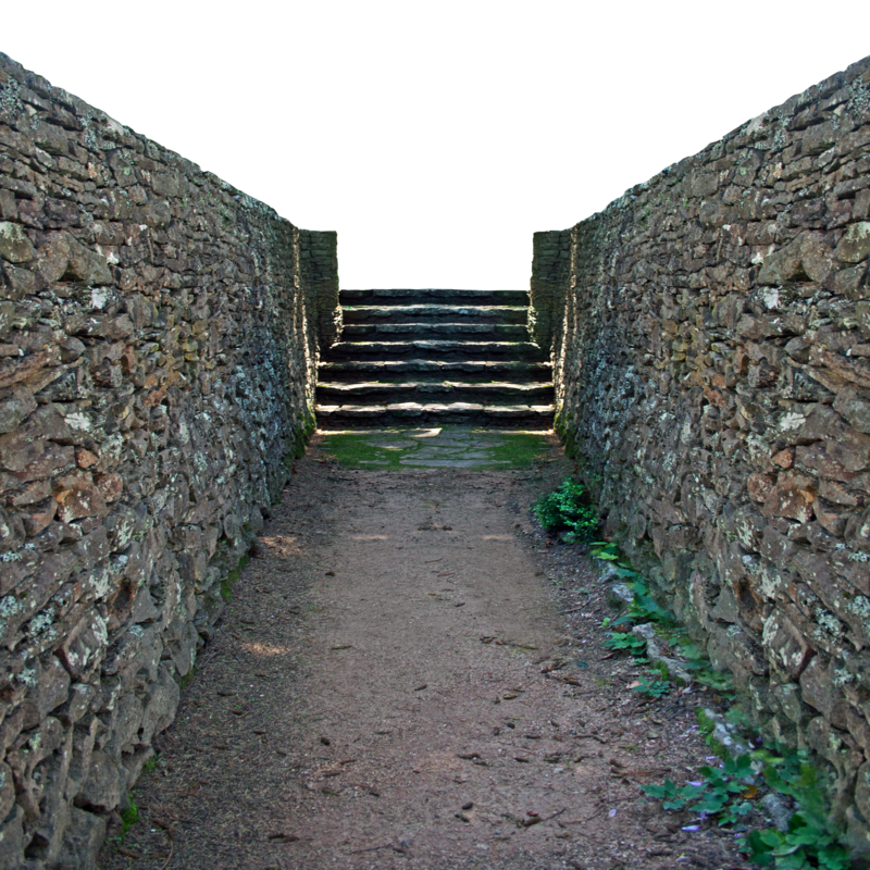 Transparent walls. Garden path stock by