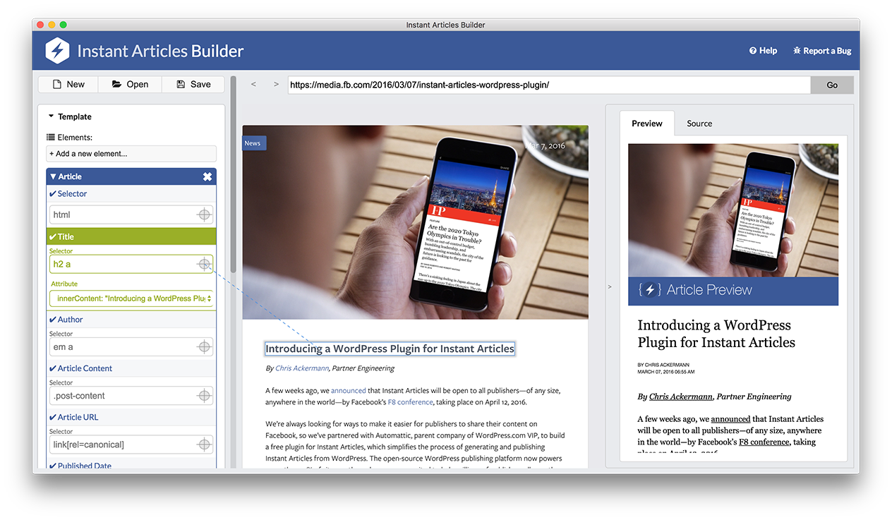 Transparent website instant. Articles builder set up