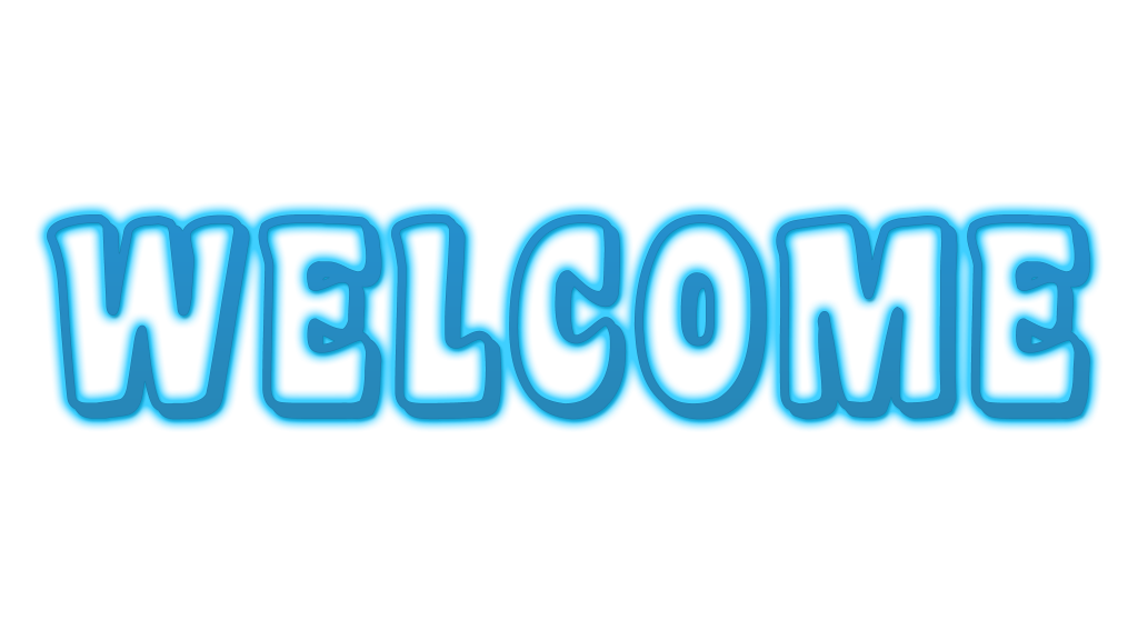 Transparent welcome blue. Image text logo png