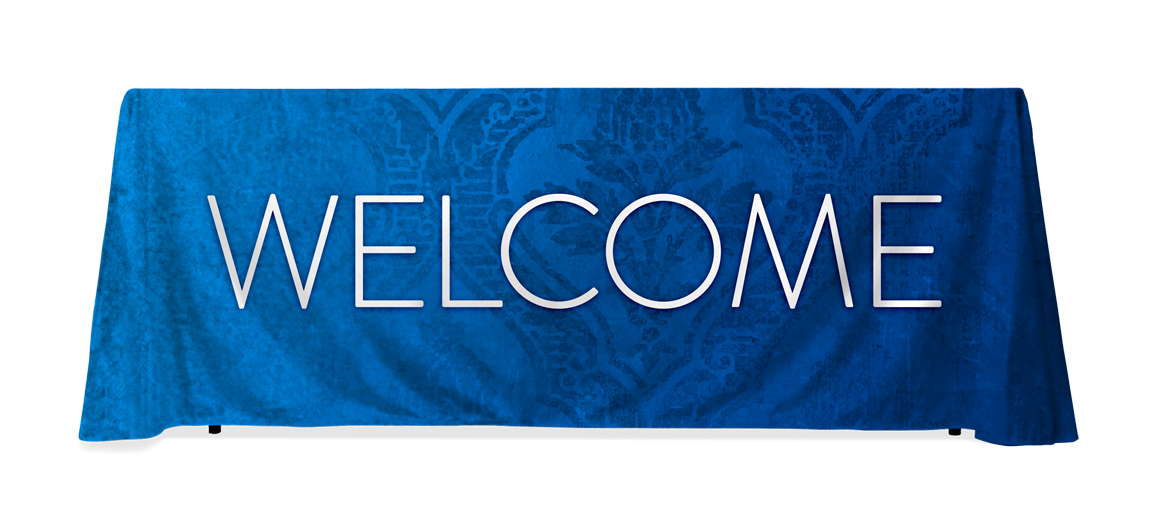 Transparent welcome blue. Church table throws center