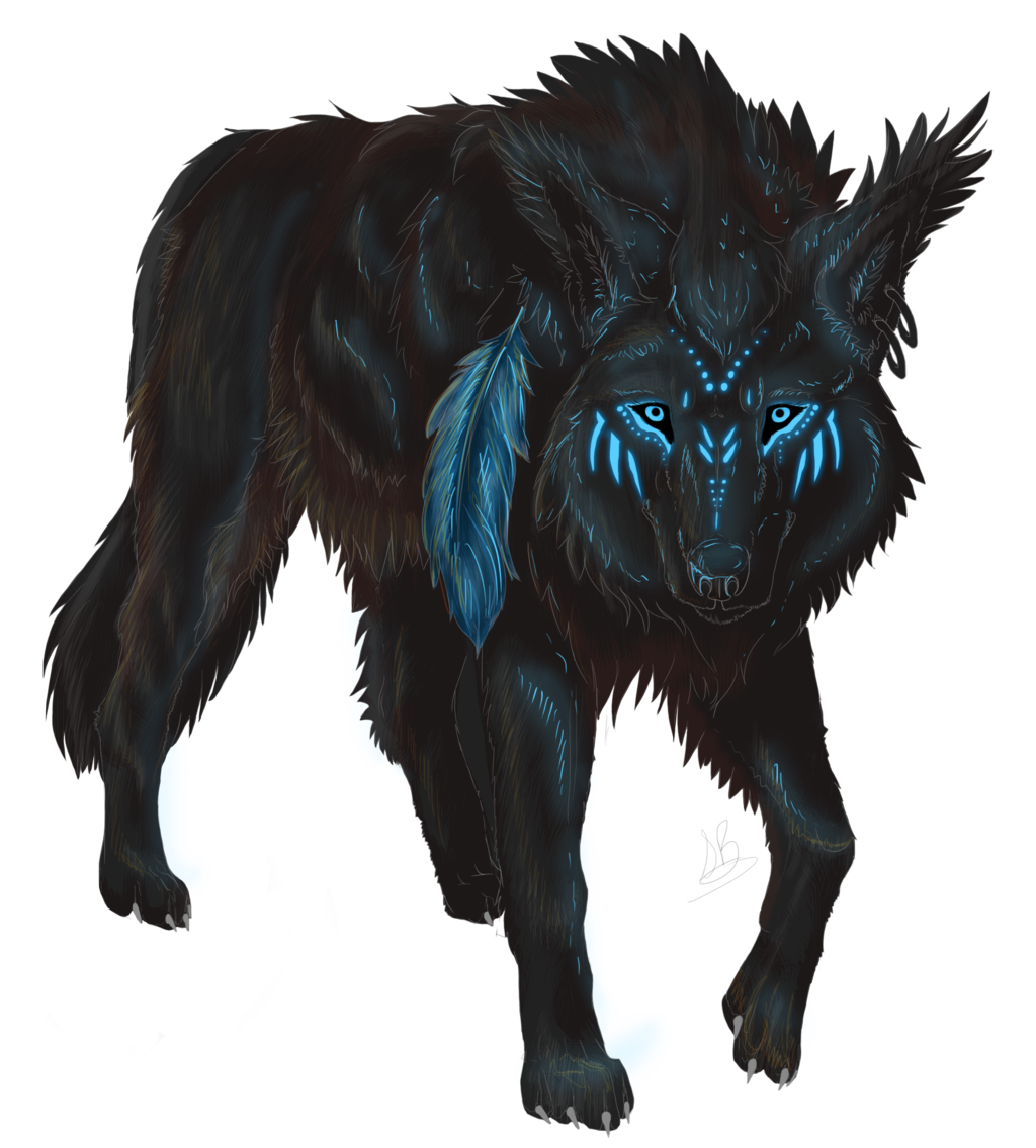 Wolves transparent digital art. Collection of majestic