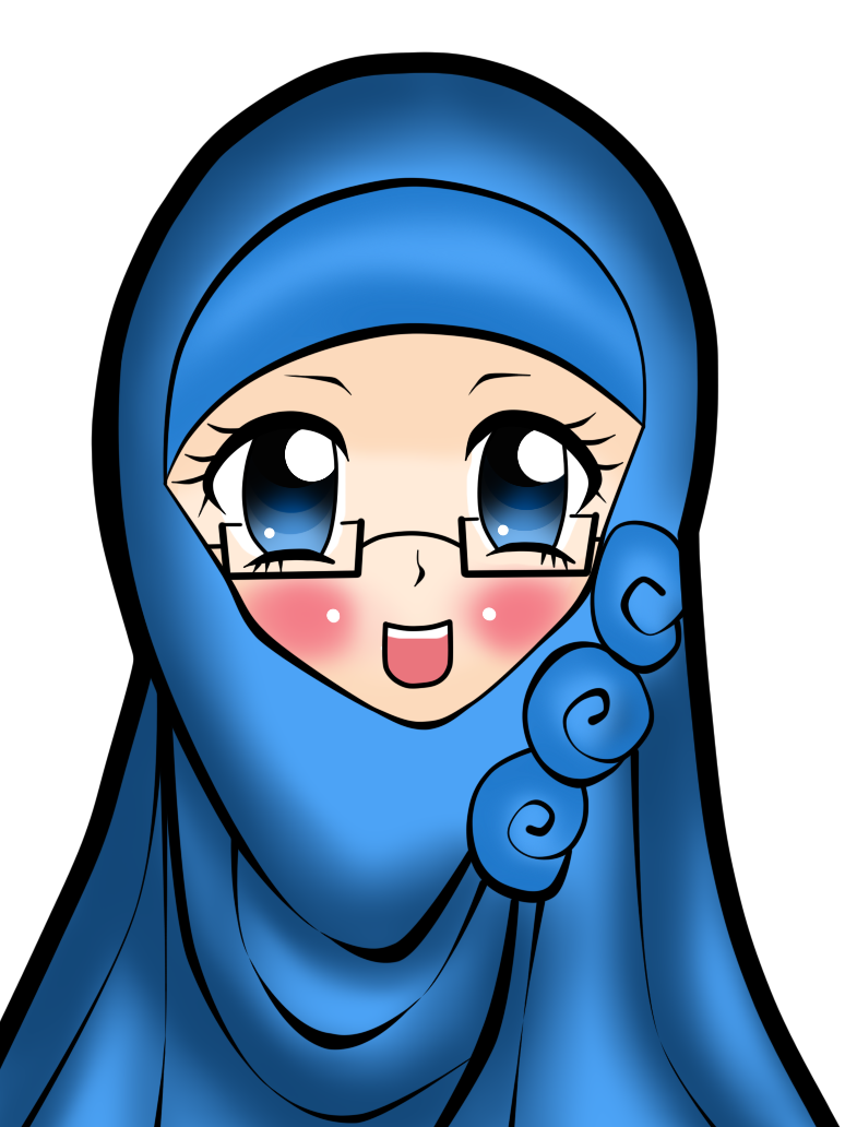 Women transparent hijab. Blue scientific benefits of