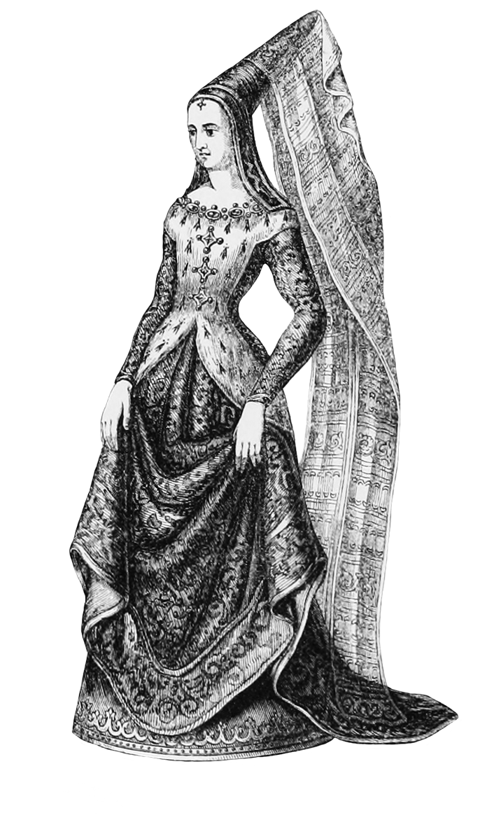 Maid drawing medieval. Clipart lady