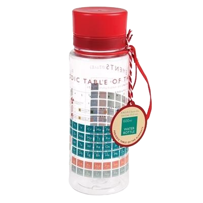 Transparent worms water bottle. Periodic table waterstones