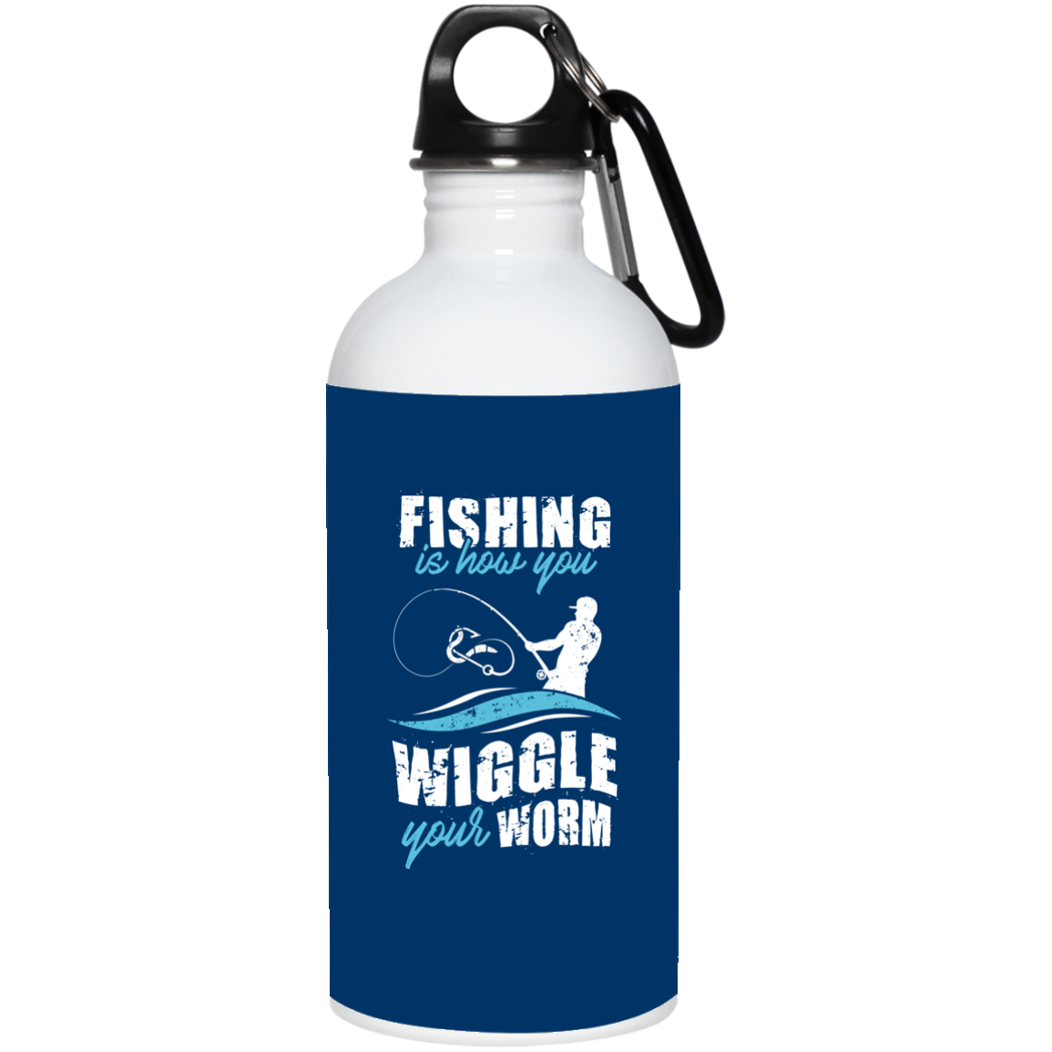 Transparent worms water bottle. Fishing is how you