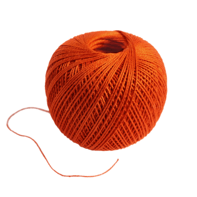 Transparent yarn background. Ball of coloured wool