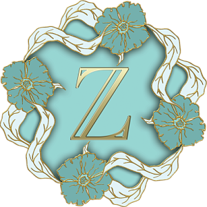 Transparent z gold. Monogram letter and green