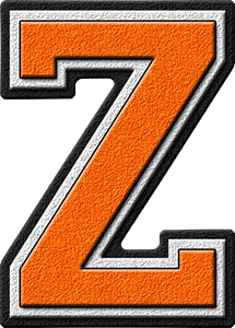Transparent z orange. Presentation alphabets varsity letter