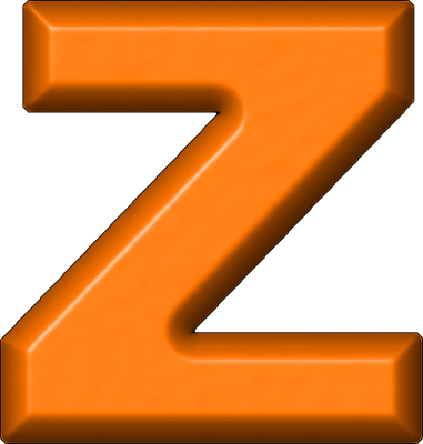 Transparent z orange. Presentation alphabets refrigerator magnet