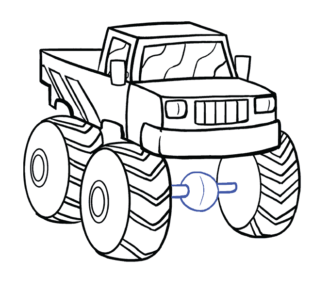 silverado drawing monster truck