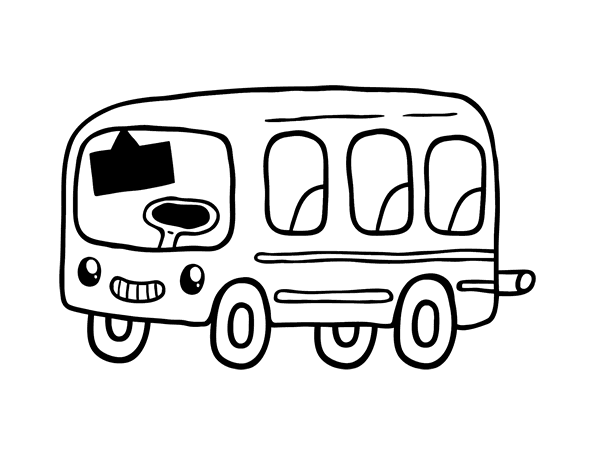 Transport drawing. Bus transportation printable coloring