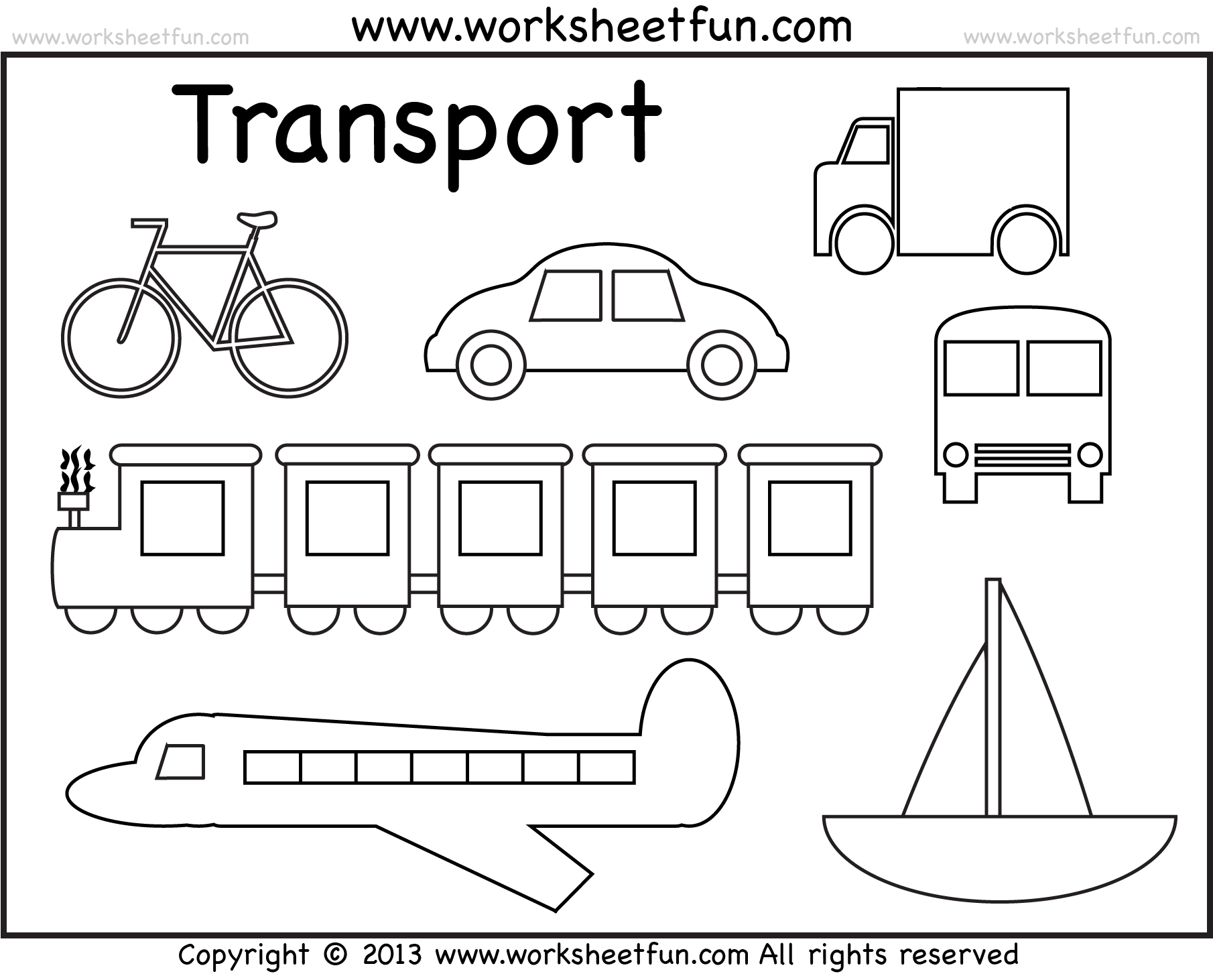 Transport drawing colouring. Modes of transportation coloring