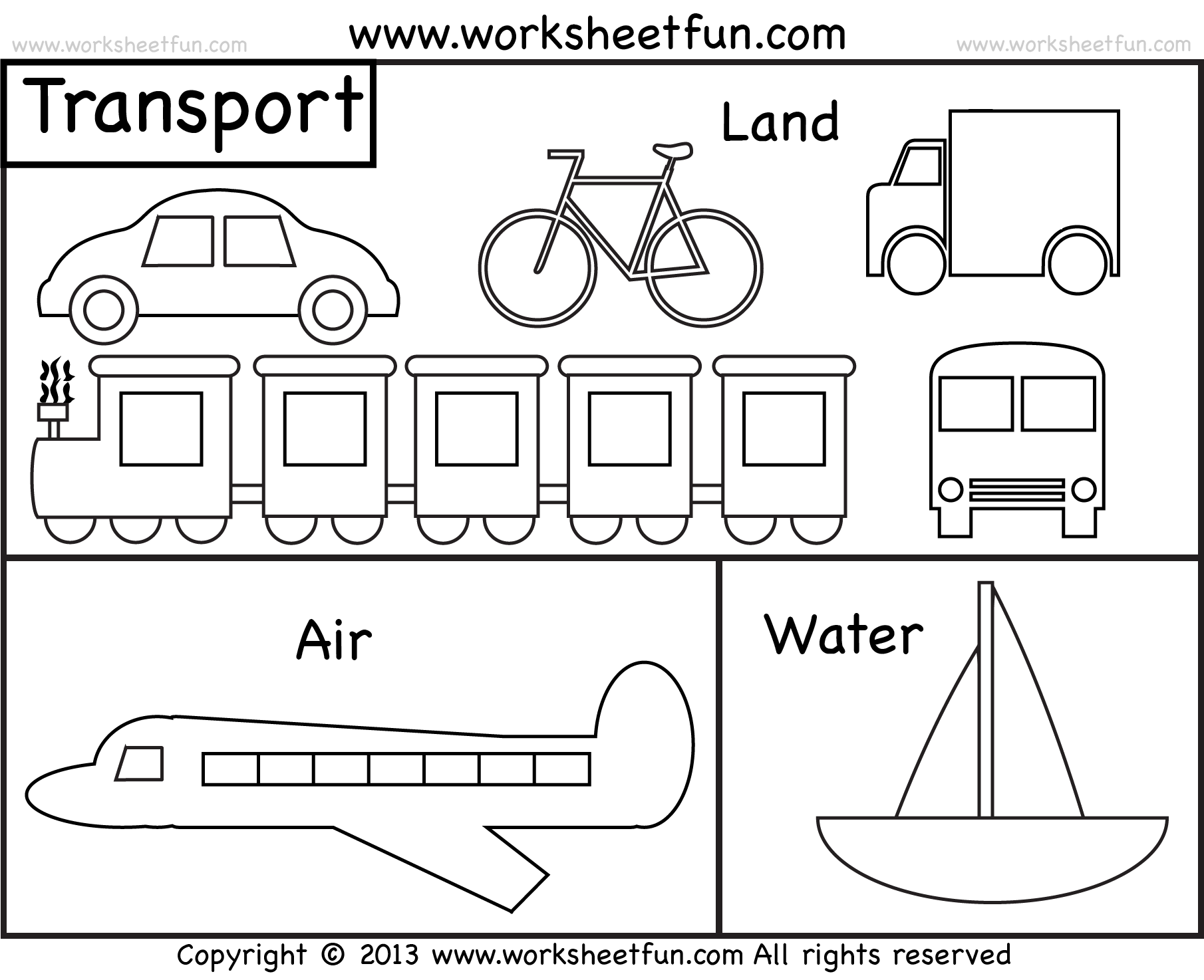 Transport drawing colouring. Easily transportation coloring sheets