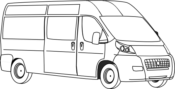 Vector van outline. Transportation printable coloring pages