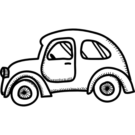 Transport drawing old. Car rounded model icons