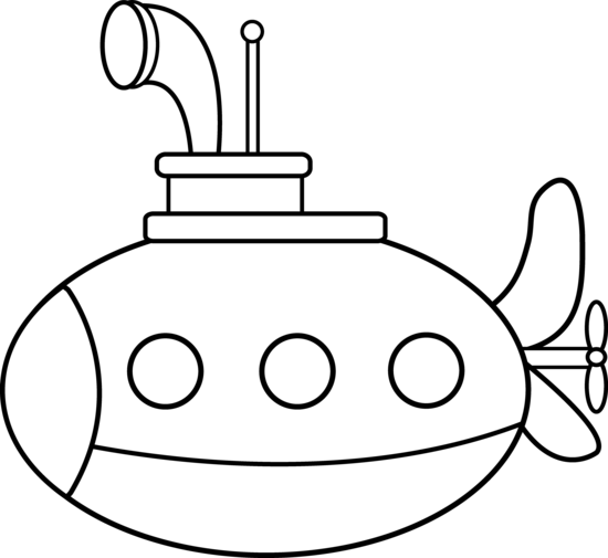 White submarine. Cute coloring page ideas