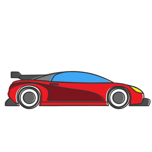 Transport drawing sports car. Icon auto fastcar formula