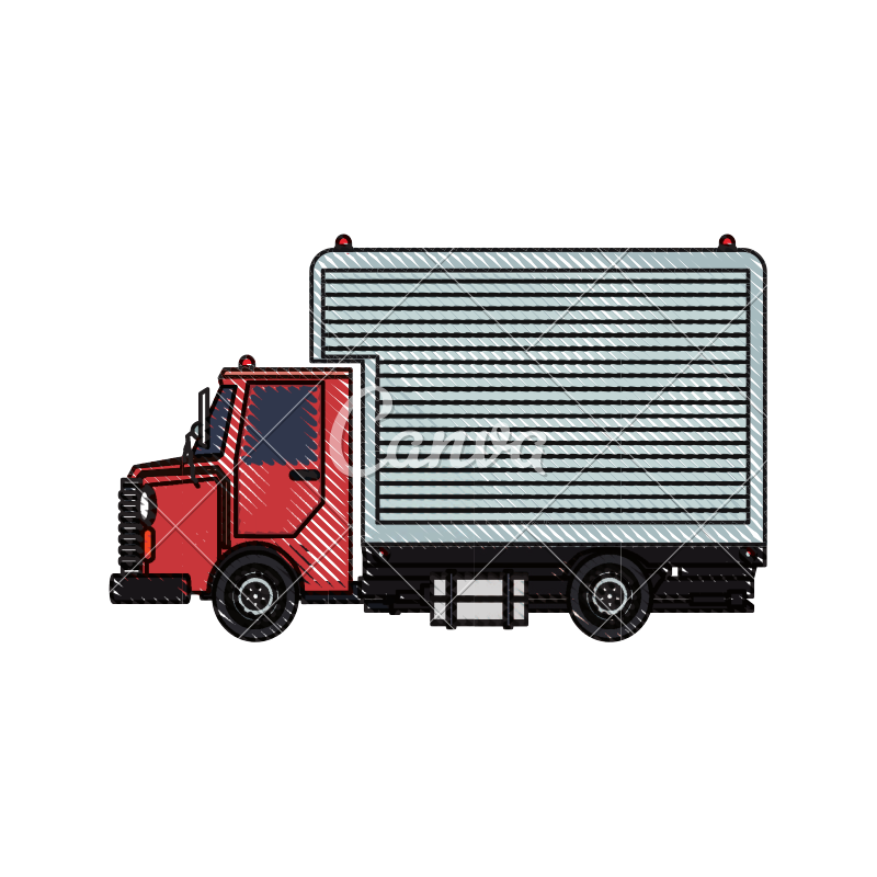 Transport drawing freight truck. Delivery cargo design icons