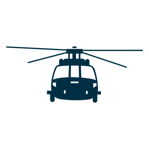 Transportation vector helicopter. Front view silhouette transparent