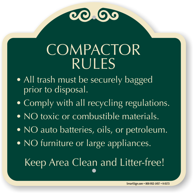 Trash on floor png. Compactor rules must be