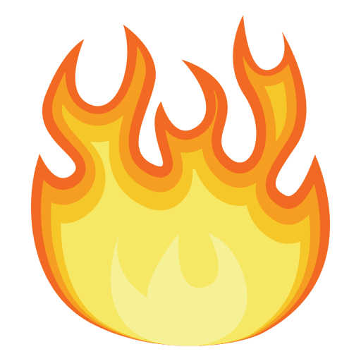 Fuego png. Orange fire cartoon contour