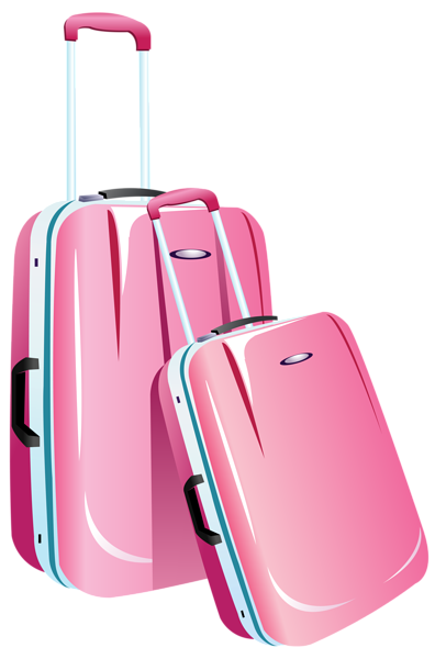 Travel clipart travel case. Pink bags png image
