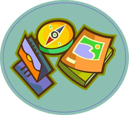 Travel clipart travel guide. Stock illustration a compass