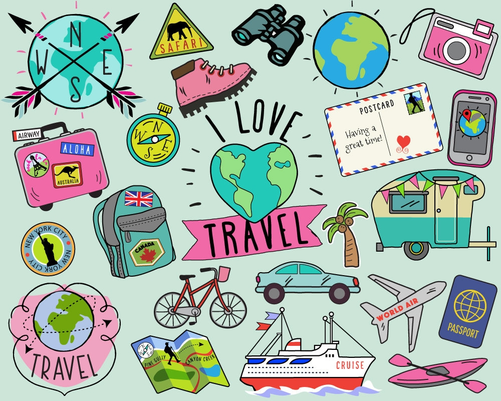 Travel clipart travel thing. Unique design digital collection