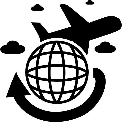 Travel png icon. Travelling by airplane around
