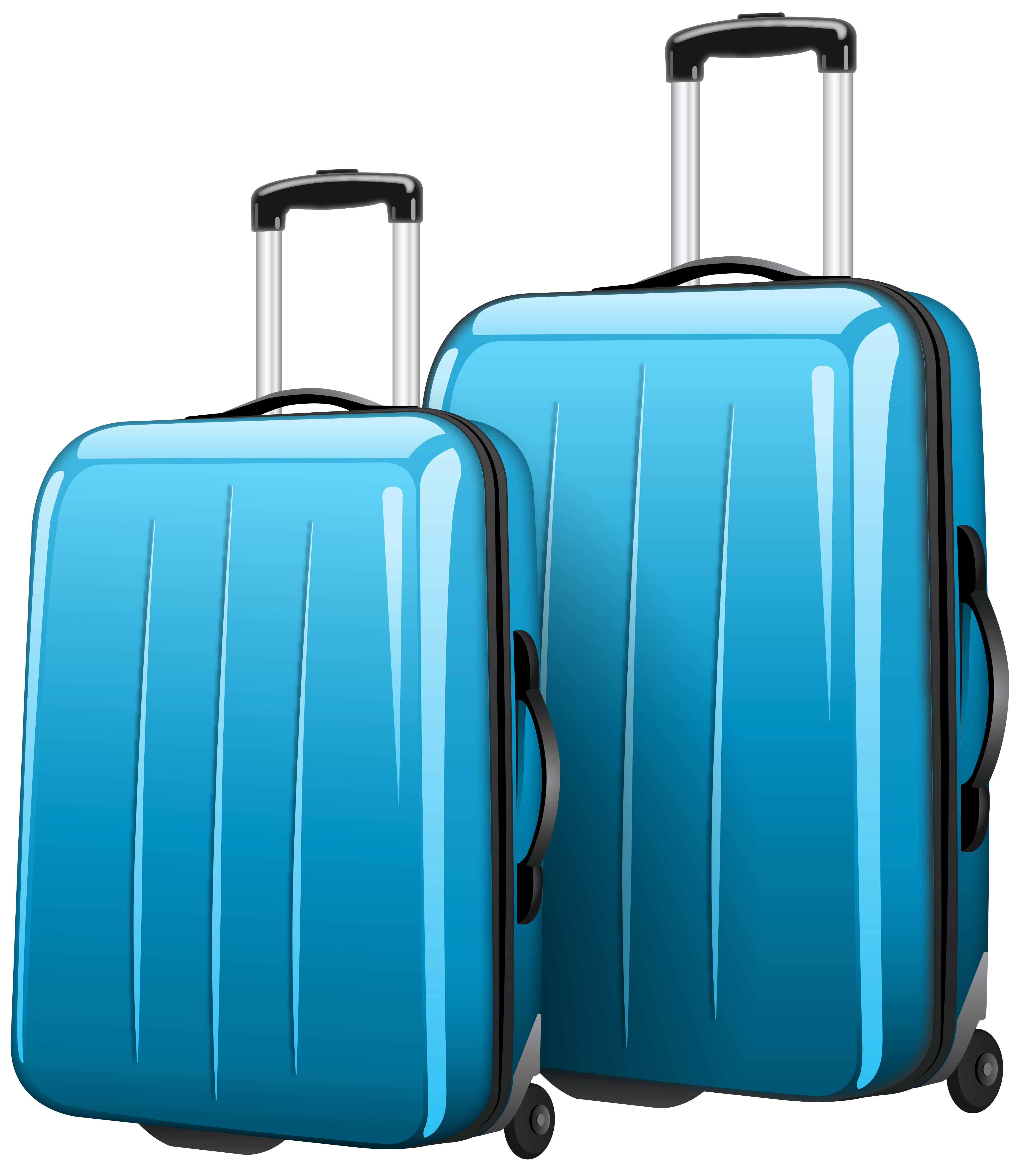 Travel suitcase png. Two blue bags clipart
