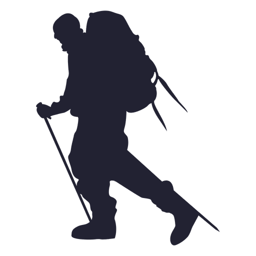 Traveler vector silhouette. Hiking mountain transparent png