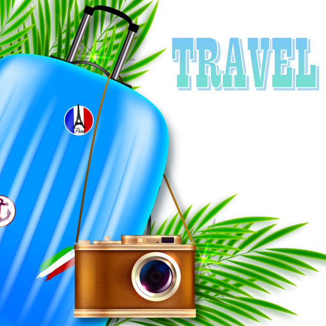 Traveler vector. Travel illustration suitcase and