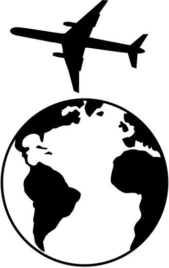 Traveling clipart black and white. Airplane flying over earth