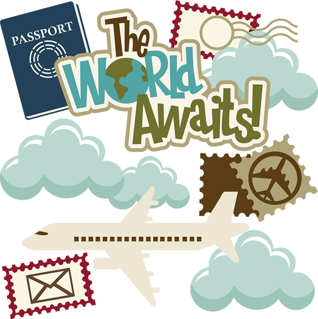 Traveling clipart scrapbook. The world awaits svg