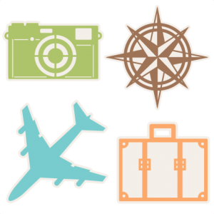 Traveling clipart scrapbook. Travel icons set svg