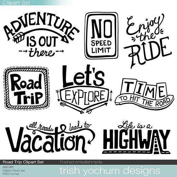 Traveling clipart scrapbook. Road trip digital adventure