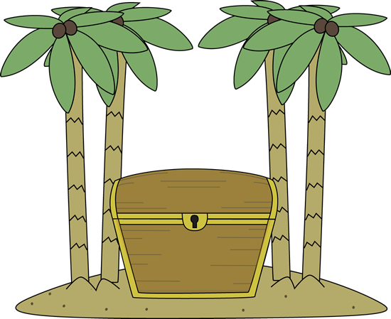 Treasure clipart found treasure. Chest on an island