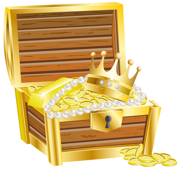 Treasure clipart transparent background. With crown and jewels