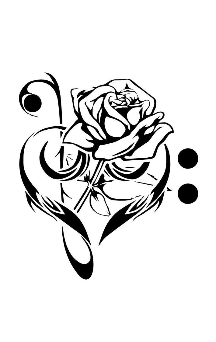 Treble clef clipart love tattoo. And music tattoos rose