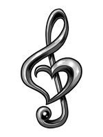 Treble clef clipart love tattoo. For the of music