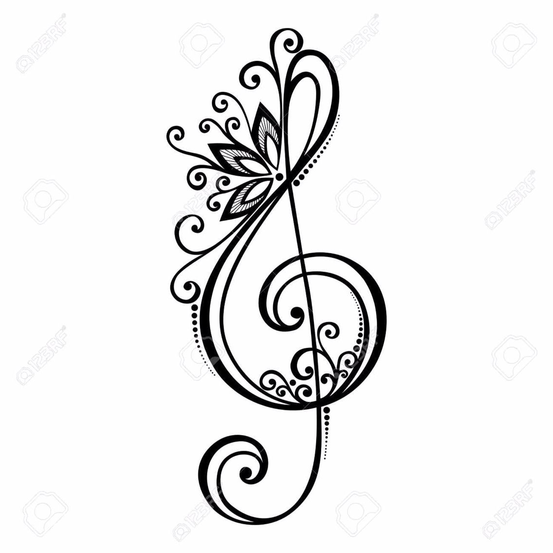 Treble clef clipart small. Musica pinterest and tattoo