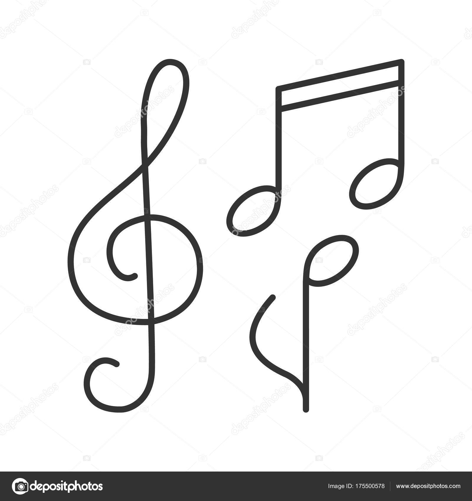 Treble clef clipart thin. Musical notes linear icon