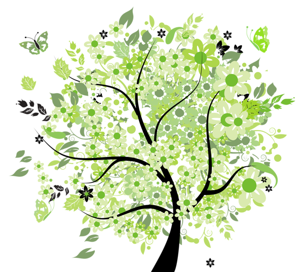 Spring tree png. Green clipart picture trees