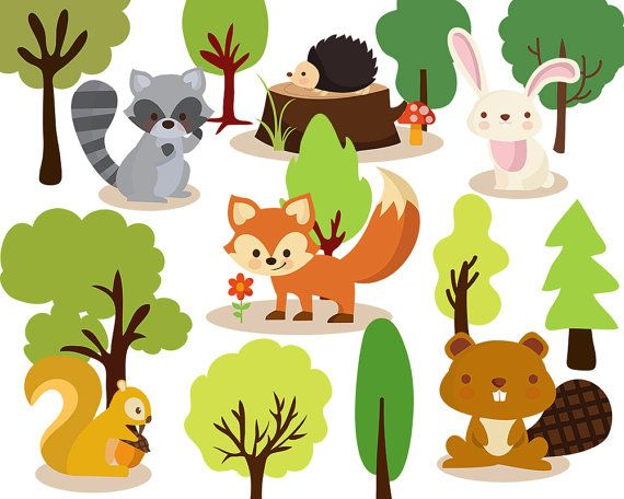 Tree clipart woodland. Digital by clipartkiwi