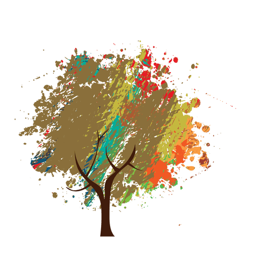 Tree graphic png. Crayon painted abstract transparent