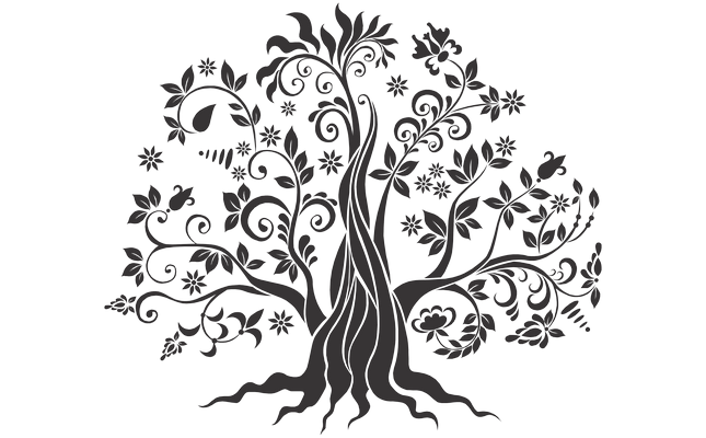 Double drawing tree. Of life decals stickers