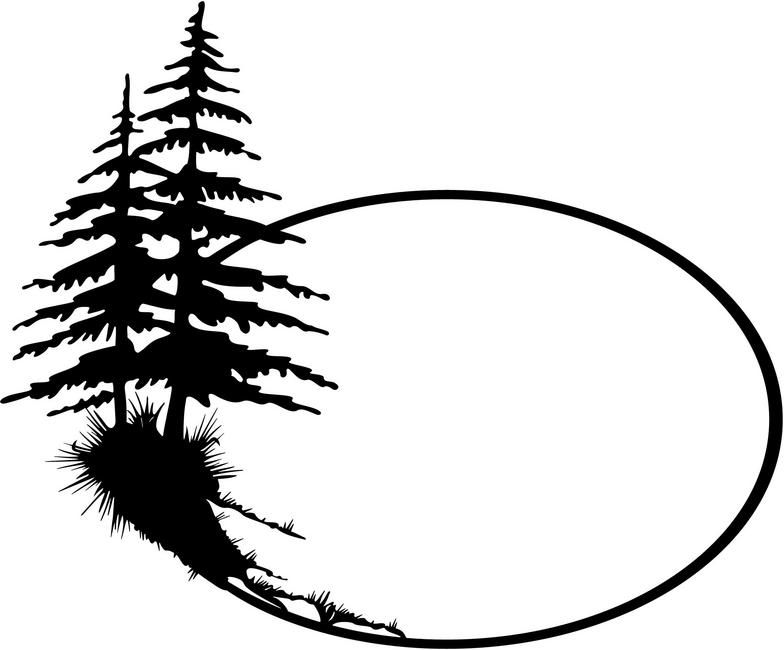 Trees clipart. Pine black and white